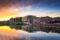 Amazing sunset at the river of Cork city Royalty Free Stock Photography