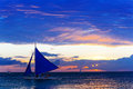 Amazing sunset at sea. Sailboat