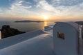 Amazing sunset view from town of Imerovigli to volcano, Santorini island, Thira, Greece Royalty Free Stock Photo