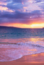 Amazing tropical beach sunset south maui hawaii Stock Photography