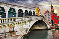 Amazing Venice, Rialto bridge Stock Photo