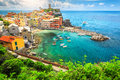 Amazing Vernazza village and stunning sunrise, Cinque Terre, Italy, Europe Royalty Free Stock Photo