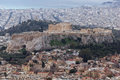 Amazing view of the Acropolis of Athens from Lycabettus hill, Greece