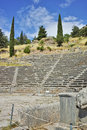 Amazing view of Amphitheater in Ancient Greek archaeological site of Delphi, Greece Royalty Free Stock Photo