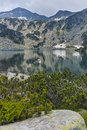 Amazing view of Banderishki Chukar Peak and The Fish Lake, Pirin Mountain Royalty Free Stock Photo