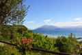 Amazing view of Lake Garda from the hills of the park Parco Pubblico Tomelleri in Sirmione town, Italy