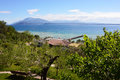 Amazing view of Lake Garda from the hills in Sirmione town, Italy