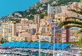 Amazing view of monaco city preparation to formula grand prix Stock Photo