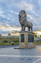 Amazing view of old stone citadel skopje macedonia lion monument with ancient fortification fortress on sunrice bright colors Royalty Free Stock Photo