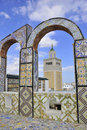 Amazing view from the rooftop arcades over Mosque Royalty Free Stock Images