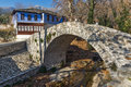 Amazing view of Stone bridge over small river in Moushteni near Kavala, Greece Royalty Free Stock Photo