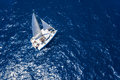 Amazing view to catamaran cruising in open sea at windy day drone view birds eye angle Stock Photo