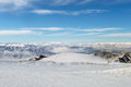 Amazing view from the top of a snowy mountain in florina greece vigla ski center Royalty Free Stock Photography