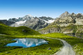 Amazing view of touristic trail near the matterhorn in the swiss alps Royalty Free Stock Photography
