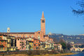 Amazing view of Verona city and River Adige, Italy Royalty Free Stock Photo