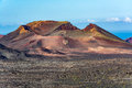 Amazing volcanic landscape of Lanzarote island, Timanfaya national park Royalty Free Stock Photo