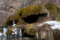 Amazing waterfall in Armenia in the winter, Nagorn Royalty Free Stock Images
