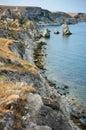 Amazing weathering rocks and coastline in djangul national park crimea Royalty Free Stock Images