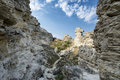 Amazing weathering rocks in djangul national park crimea Royalty Free Stock Photos
