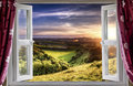 Amazing window view through an open onto beautiful landscape Royalty Free Stock Photos