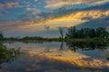 Amazingly beautiful sunrise over Lake, foggy Royalty Free Stock Photo