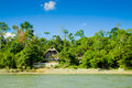 Amazon Huts with river and blue skyes Royalty Free Stock Image
