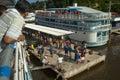 Amazon river brazil monte alegre passengers descending from a boat sailing down the in monte alegre Royalty Free Stock Photo