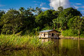 Amazon river jungle house boat Royalty Free Stock Photo
