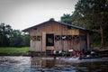 Amazon river jungle house boat Royalty Free Stock Photo