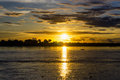 Amazon Sunset and Boat Royalty Free Stock Photo