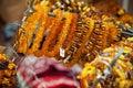 Amber beads and bracelets on the counter riga latvia Stock Photos