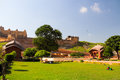 Amber fort in jaipur built with white yellow rosy and pure white stone far see like Stock Photo