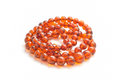 Amber necklace natural on white Stock Photos
