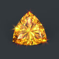 Amber yellow diamond radiant trillion cut isolated precious or bright color crystal using cutting with sparkling dazzling glares Stock Photo