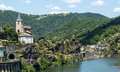 Ambialet tarn france midi pyrenees the old village on the river at summer Royalty Free Stock Photography