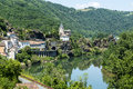 Ambialet tarn france midi pyrenees the old village on the river at summer Stock Images