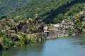 Ambialet tarn france midi pyrenees the old village on the river at summer Stock Photo