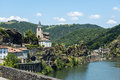 Ambialet tarn france midi pyrenees the old village on the river at summer Royalty Free Stock Photo