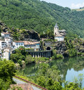 Ambialet tarn france midi pyrenees the old village on the river at summer Royalty Free Stock Image