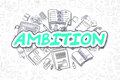 Ambition - Cartoon Green Word. Business Concept.