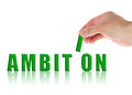 Ambition concept word with hand on white Stock Photo
