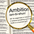Ambition Definition Magnifier Showing Aspirations Motivation And Royalty Free Stock Image