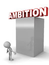 Ambition word perched at the top a little man looking towards the word standing at the bottom Royalty Free Stock Photos