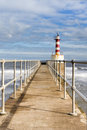 Amble harbour lighthouse Stock Photography