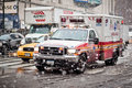 Ambulance car in blizzard Royalty Free Stock Image