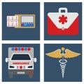Ambulance car, ECG, Medical bag and sign. Object flat icon. Vect