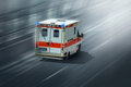 Ambulance car speeding towards hospital Royalty Free Stock Photos