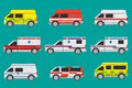 Ambulance cars international with different painting Stock Photo
