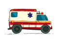 Ambulance cartoon drawing over white Stock Images