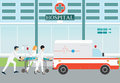 Ambulance emergency medical evacuation accident. Royalty Free Stock Photo